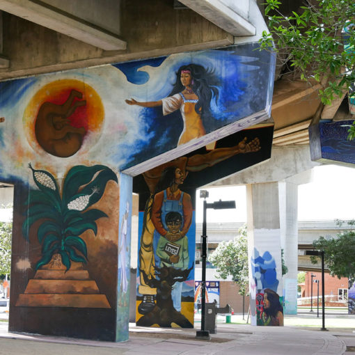 Chicano Park paintings under bridge