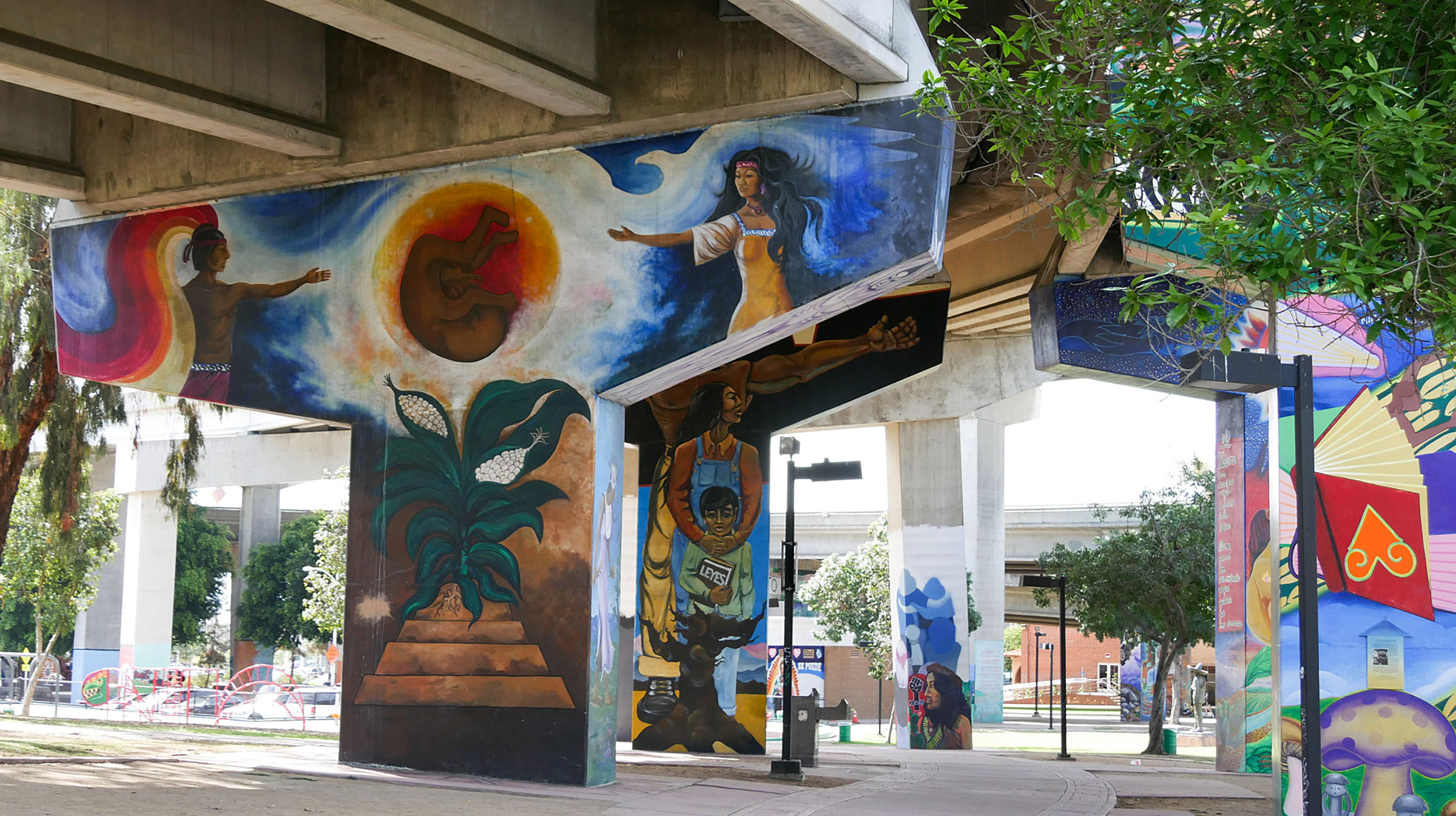 Chicano Park paintings under bridge