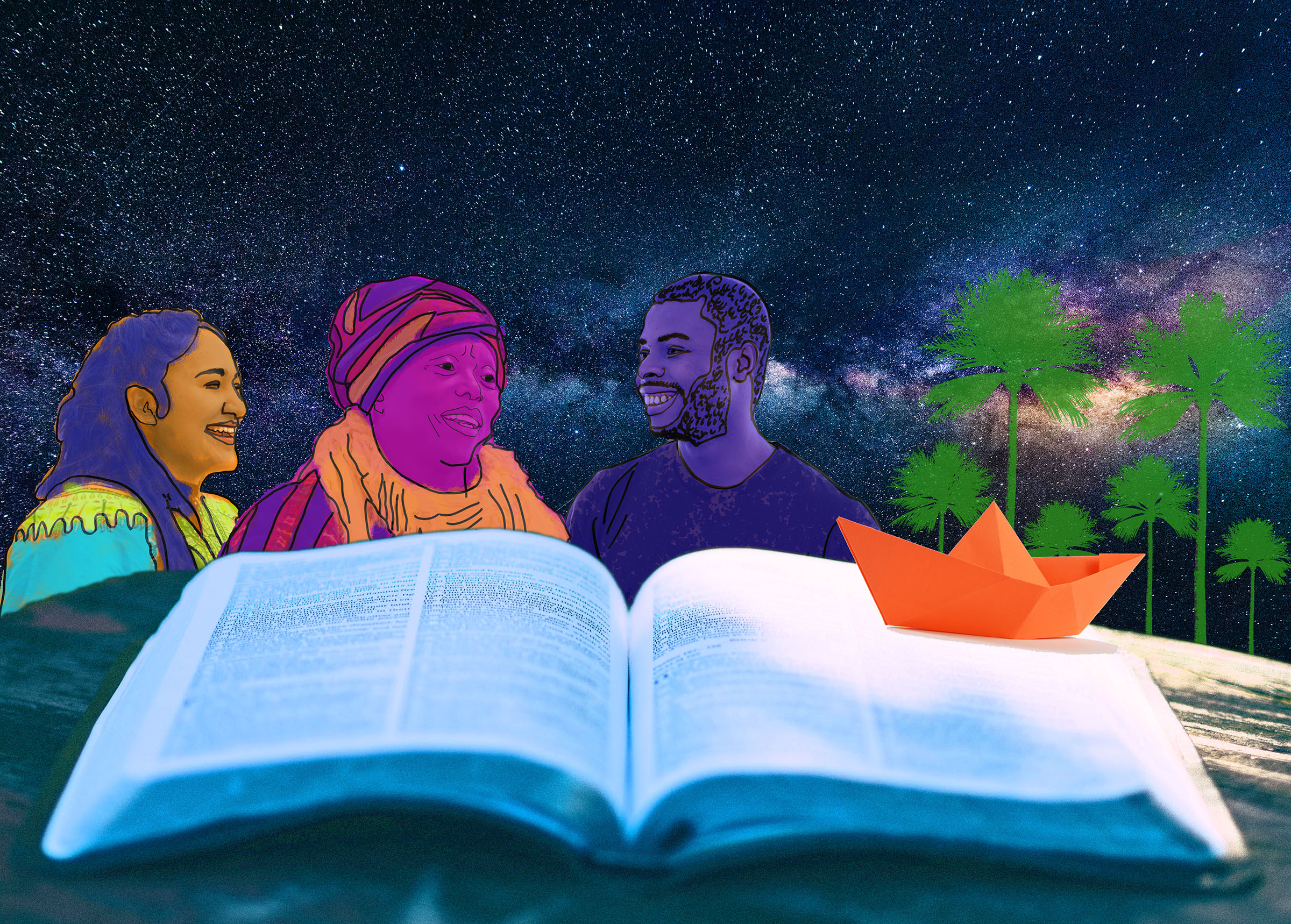 book with paper boat palm trees comic sky and three people telling stories