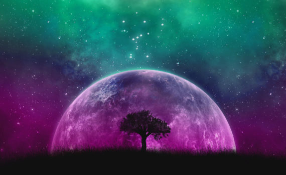 illustration of silhouette of tree agains cosmic sky and planet