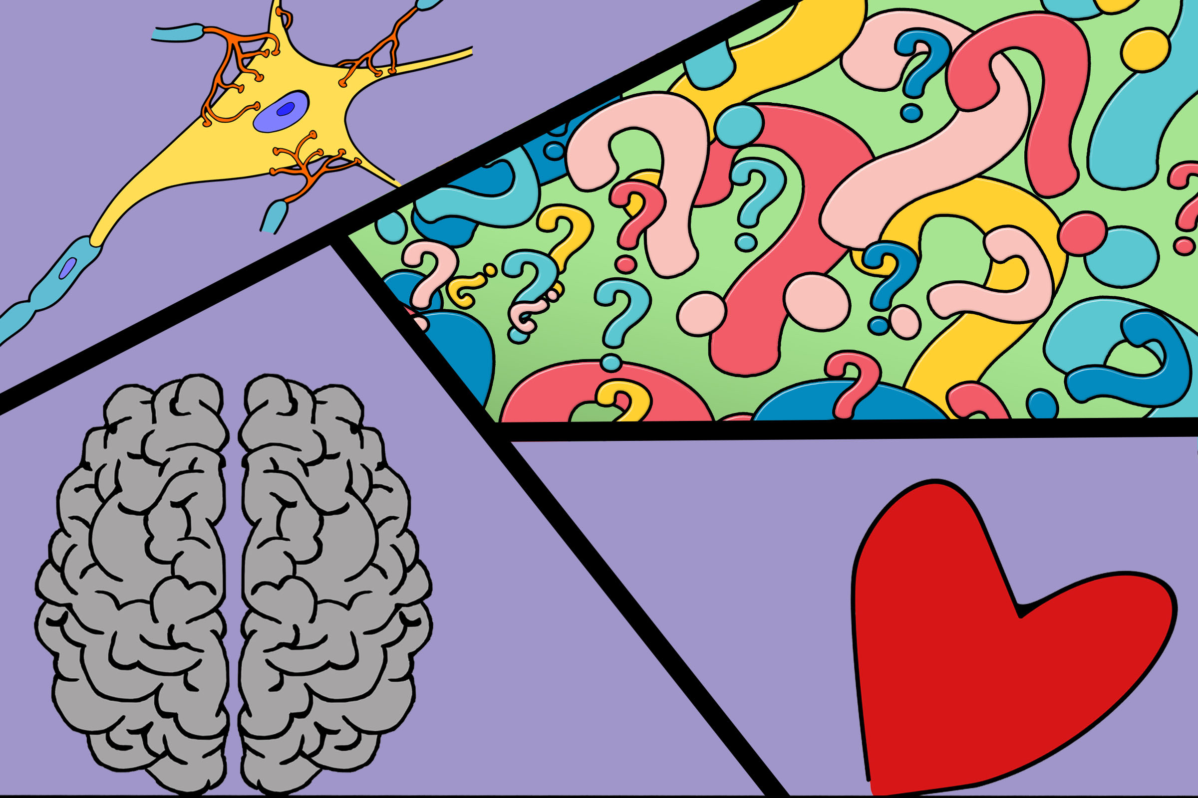 illustration of heart, neuron, brain and question marks