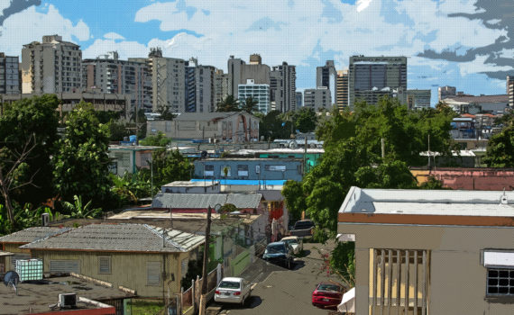 Photo illustration of underserved Neighborhood with banking buildings behind